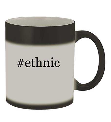 #ethnic - 11oz Color Changing Hashtag Sturdy Ceramic Coffee Cup Mug, Matte Black