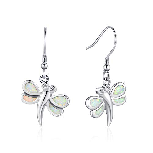 FANCIME Sterling Silver White Opal Dragonfly Dangle Earrings Dainty Cubic Zirconia Hook Drop Earrings Jewelry for Women Girls ()