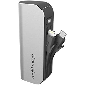 myCharge HubMini Portable Charger with Built-In Apple Lightning and Micro-USB Cables