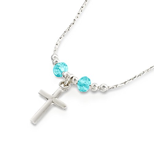 Girls Cross Pendant Made with Swarovski Light Blue Crystals 925 Sterling Silver Necklace, 16