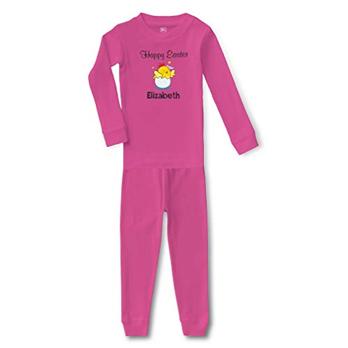 Personalized Custom Happy Easter Chicken Cotton Crewneck Boys-Girls Infant Long Sleeve Sleepwear Pajama 2 Pcs Set - Hot Pink, 18 Months for $<!--$23.99-->