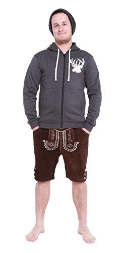 Herren Trachten Hoodie Jacke Sweater Kapuzenjacke Pullover Hirschapplikation (XL)