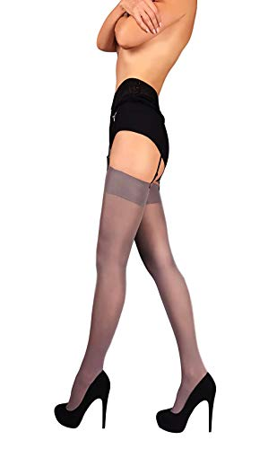 Thigh High Opaque Stockings (Gray, L) (Grey Stockings)