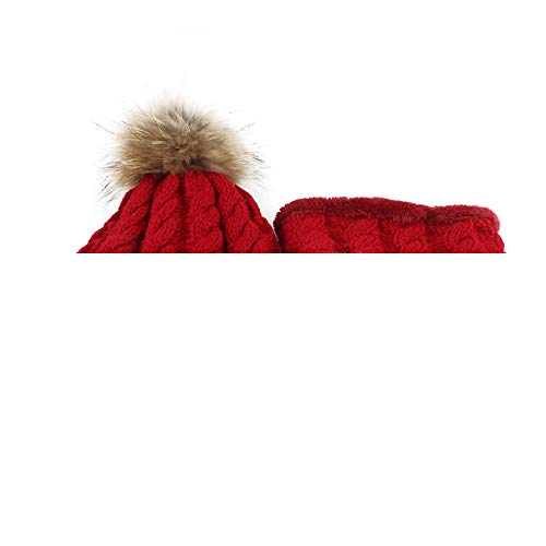 (Clearance, Unisex Baby Soft Cute Lovely Knitted Beanie Hair ball Hat Cap+Scarf (Red))