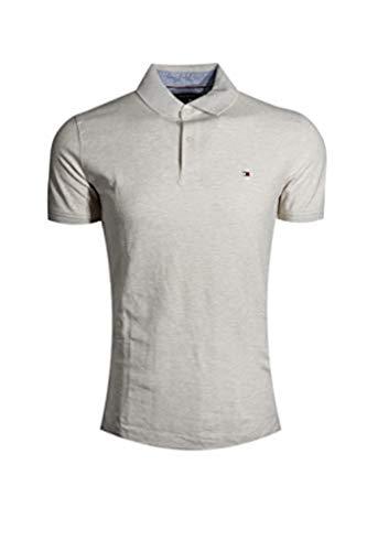 Tommy Hilfiger Mens Stretch Slim Fit Pique Polo Shirt (XX-Large, Beige Heather)
