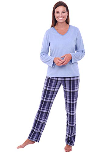 Alexander Del Rossa Womens Fleece Pajamas, Long V-Neck Pj Set, Large Blue Plaid (A0325Q18LG)