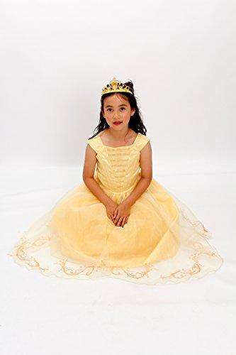 Yellow Belle the beauty princess costume new light up gown free tiara T XS S M …
