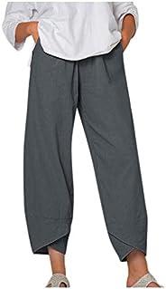 fartey Cotton Linen Pants for Women Casual Summer Loose Capri Pants Solid Wide Leg Sweatpants with Pocket