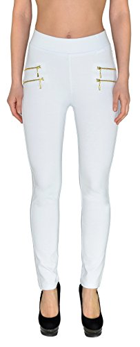 by-tex Femmes Pantalons Taille haute Femmes Jeggings Treggings Skinny de femme  la taille surdimensionne 50# J189 J189-blanc