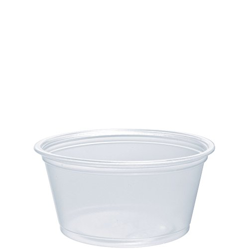 Dart 200PC 2 oz Clear PP Portion Container (Case of 2500) (Black Plastic Souffle Cups)