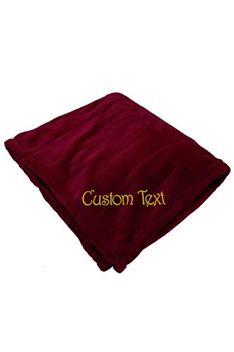 Zynotti Personalized Embroidered Burgundy Throw Blanket Size 50x60 Bedding Fleece Soft Cozy Blanket for Bed or Couch