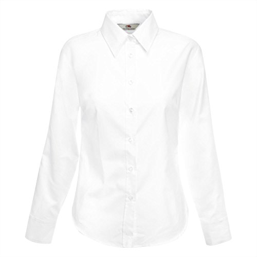 Fruit Of The Loom- Camisa de manga larga entallada Oxford para mujer Azul marino