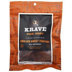 Krave All Natural Grilled Sweet Teriyaki Pork Jerky, 3.25 Ounce -- 8 per case.