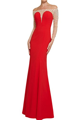 Ivydressing Rosso pietre U da da sera abito lunghe maniche partito da Donne vestito scollatura ballo con abito aqBdaH