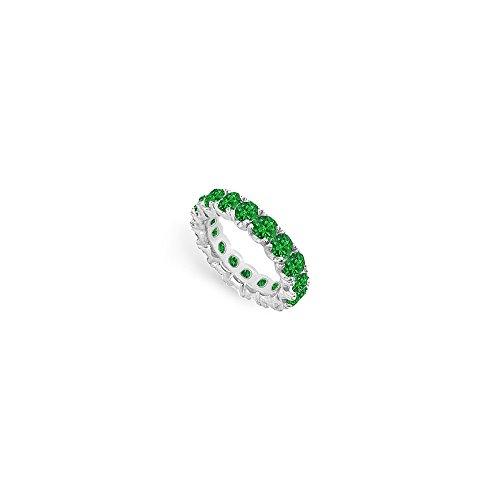May Birthstone Created Emerald Eternity Band 14K White Gold 5.00 CT TGW Fifth Wedding Anniversar