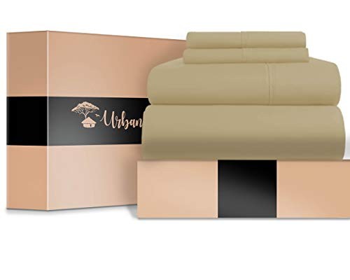 URBANHUT Egyptian Cotton Sheets Set (4 Piece) 700 Thread Count - Bedspread Deep Pocket Premium Bedding Set, Luxury Bed Sheets for Hotel Collection Sateen Weave (Sand, California King) - Premium Set Bedding