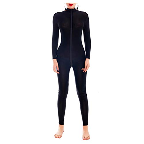 ADESUGATA Womens One Piece Unitard Full Body Suit Skin Tights And Transparent Underwear - Bodysuit Sleeved Opaque Long