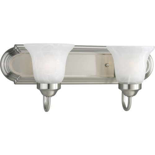 Progress Lighting P3052-09EBWB 2-Light Energy Star Bath Compact Fluorescent with Etched Alabaster Shades and An Elongated Racetrack-Style Backplate, Brushed Nickel by Progress Lighting