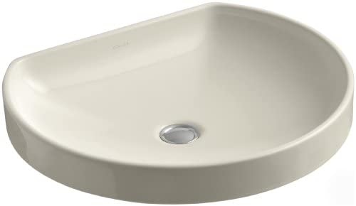 Kohler K-2332-47 Vitreous china Wall Mounted oval Bathroom Sink, 23.7 x 20.4 x 9.6 inches, Almond
