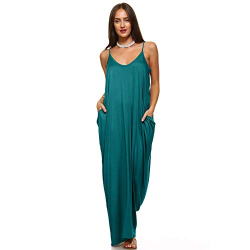 (Isaac Liev Women's Casual Loose Long Maxi Dress Spaghetti Strap Dress with Pockets (Large,)