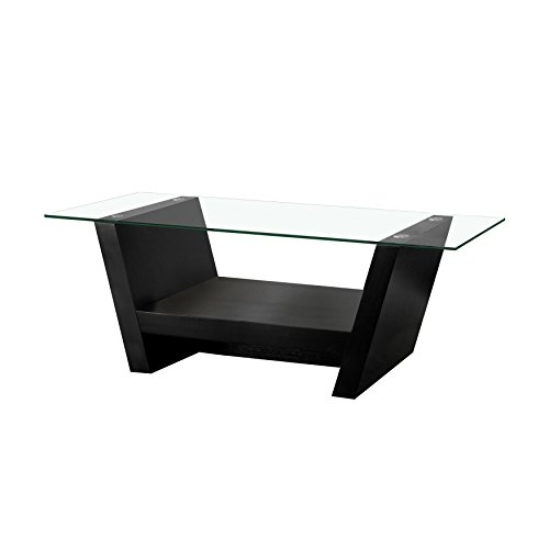 ioHOMES Hudson Coffee Table with Glass Top, Black