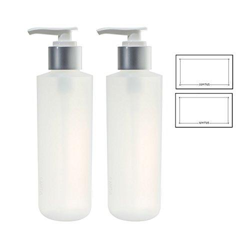 Clear Natural Refillable Plastic Squeeze Bottle with Silver Pump Dispenser - 6 oz (2 Pack) + Labels Toner 6 Oz Bottle