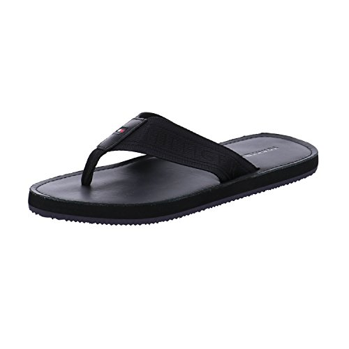 Tommy Hilfiger Herren Jacquard TH Leather Beach Sandal Zehentrenner Schwarz