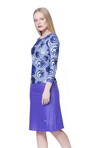 Amanda K Modest Swimwear for Women Long Sleeves Shirt & Skirt w/Leggings (L) Blue Roses