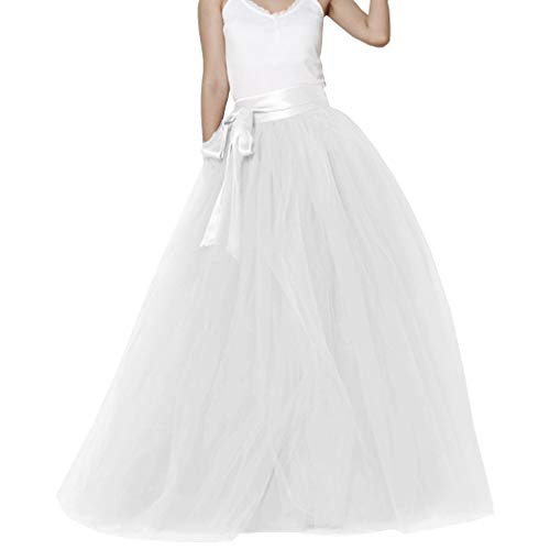 Lisong Women Floor Length Bowknot Tulle Party Evening Skirt 16 US White ()