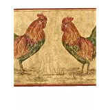 Rooster Wallpaper Border - Red Edge