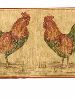 Rooster Red Border (Rooster Wallpaper Border - Red Edge…)