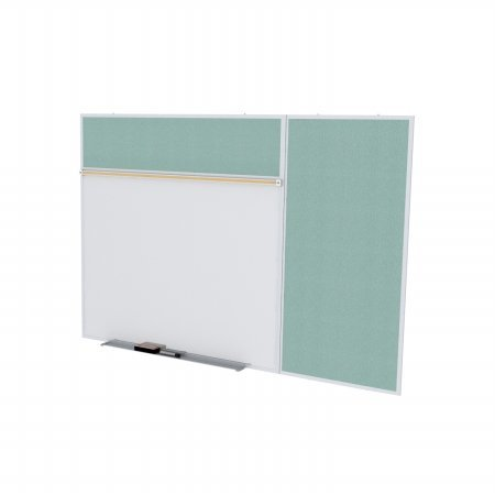 Ghent SPC412B-V-199 4 ft. x 12 ft. Style B Combination Unit - Porcelain Magnetic Whiteboard and Vinyl Fabric Tackboard - Stone