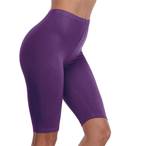 VOGUEMAX Women's Short Leggings Stretchy Mid Tight Leggings Lightweight for Under Dresses/Skirts, Regular and Plus Size Deep Purple