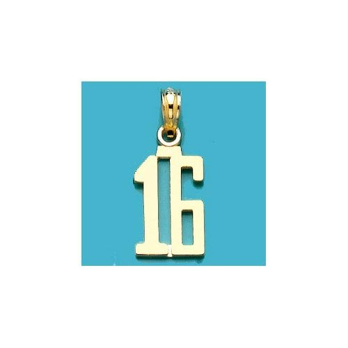 14k Gold Birthday Milestone Necklace Charm Pendant, Number Sixteen 16 Block Styl