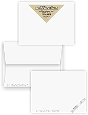 5X7 Blank Cards with A-7 Envelopes - Smooth Bright White - 15 Sets - Silky Finish - Invitations, Greeting, Thank Yous, Notes, Holidays, Weddings, Birthdays, Announcements - 80# Cardstock