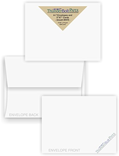 5X7 Blank Cards with A-7 Envelopes - Smooth Bright White - 50 Sets - Silky Finish - Invitations, Greeting, Thank Yous, Notes, Holidays, Weddings, Birthdays, Announcements - 80# (Bright White Note)