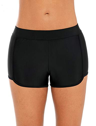 ATTRACO Women Boardshort Boyleg Bottom Mid Waist Beach Pants Boyleg Black L ()