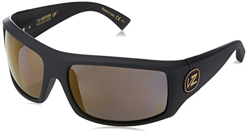 VonZipper Clutch Polar Polarized Wrap Sunglasses, Black Satin Gold Polar, 66 (Polarized Clutch)