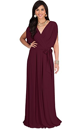Koh Koh Plus Size Womens Long Formal Short Sleeve Cocktail Flowy V