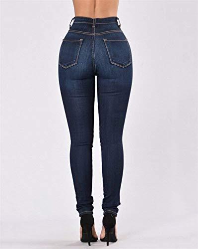 Jeans Avec Dunkelblau Haute Battercake Crayon Dame Confortable Stretch Pantalon Femme Denim Poches Taille Bouton Casual fwqqdaUxzC