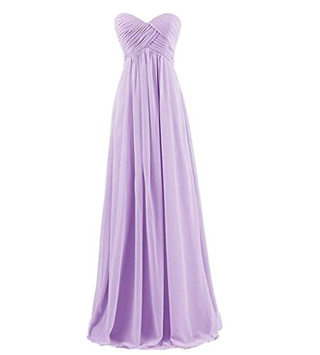 Long Bridesmaid Dress, A-line Sweetheart Floor Length Garden Wedding Party Gown for Women-Lilac-6