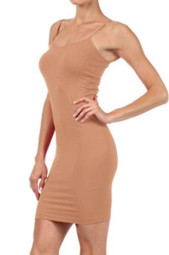 ICONOFLASH Women's Nylon Seamless Long Cami Slip Dress (Camel, Regular) Camel Slip