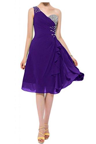 Toscana novia preferido un-hombro vestidos de gasa Teelang por la noche vestido corto vestidos de fiesta morado