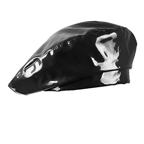 UTOWO Patent Leather Beret Hat PU Dancing for Women Black
