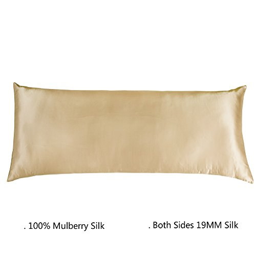 Cozysilk Body Pillowcase, 100% Silk, 19 Momme, Zippered Body Pillow Cover (20 x 54, Champagne) (Satin Body Pillowcase)