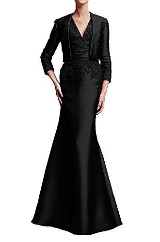 Braut Abendkleider Lang La Spitze Trumpet Promkleider Abschlussballkleider mia Etuikleider Schwarz Damen Langarm 755Xw4