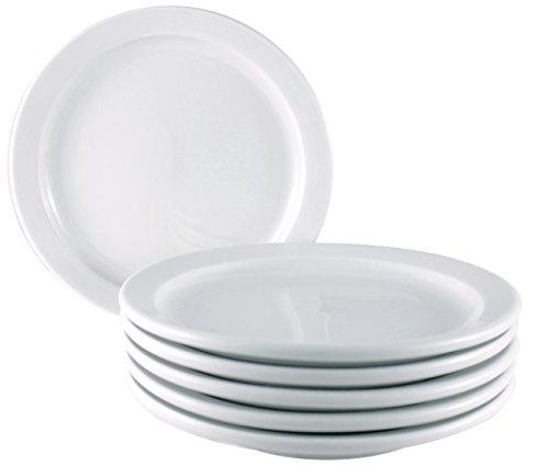 ITI Brighton Ceramic Appetizer Dinner Plates with Pan Scraper, Pure White (6-Pack, 7.25 Inch) (Fiesta Ware Small Platter compare prices)
