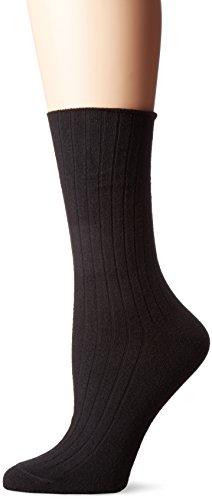HUE Women's Rib Dress Socks 4 Pk, Black, One Size (Dress Classic Rib Sock)
