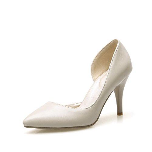 BalaMasa da donna slip-on high-heels solido imitato pumps-shoes, Beige (Beige), 35