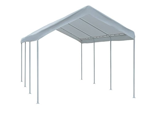 Outdoor carport with steel legs.